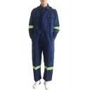 Mens Dark Blue Fashion Reflective Tape Patched Long Sleeve Cotton Workwear Mechanic Coveralls