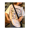 Summer Cartoon Letter CAMPING Printed Round Neck Cotton Oversized T-Shirt