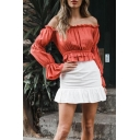 Women's Chic Orange Red Ruffled Hem Off the Shoulder Long Sleeve Blouse Top