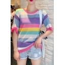 Summer Girls Trendy Colorful Striped Printed Round Neck Loose Fit T-Shirt