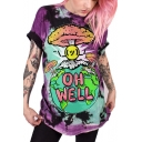 Funny Cartoon Letter OH WELL Printed Basic Round Neck Short Sleeve Casual Tunic T-Shirt