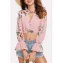 Pink Floral Pattern Cutout V-Neck Long Sleeve Cropped Blouse Top