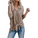 New Stylish Simple Plain V-Neck Long Sleeve Tied Hem Button Down Casual T-Shirt