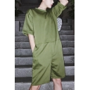 Guys Summer Cool Simple Plain Round Neck Short Sleeve Casual Loose Rompers