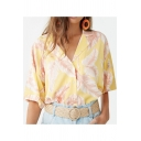 Summer Holiday Tropical Leaf Print Lapel Collar Short Sleeve Casual Button Beach Camp Shirt