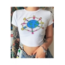 Summer Girls Funny Cartoon Printed Round Neck Short Sleeve White Crop Tee