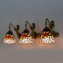 Dragonfly Hotel Wall Light with Mermaid Stained Glass 3 Lights Antique Style Sconce Lamp