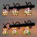 Flower/Peacock Tail Sconce Light Restaurant 3 Lights Tiffany Style Stained Glass Wall Light