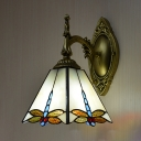 Antique Style Dragonfly Sconce Light 1 Light Stained Glass Scone Lamp for Dining Room Kitchen