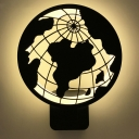 Black Globe LED Wall Light Modern Metal Acrylic Sconce Light in Warm for Bedroom Study Room