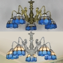 Mediterranean Style Dome Chandelier with Mermaid 5 Lights Stained Glass Pendant Light in Aged Brass/White for Bedroom