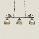 Flower Linear Chandelier with Bird 3 Lights Tiffany Style Stained Glass Island Light for Kitchen