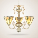 Tiffany Style Antique Cone Chandelier 3 Lights Glass Hanging Light with Leaf Pattern for Study Room