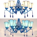 Metal Glass Cone Chandelier 6 Lights Tiffany Style Rustic Pendant Lamp in Blue/White for Dining Room