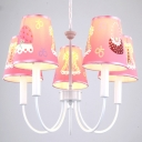 Cute Pink Suspension Light with Tapered Shade 5 Lights Metal Fabric Chandelier for Girl Bedroom