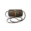 Fashion Classic Stripe Printed Bow Embellishment Brown Crossbody Sling Bag 18*9 CM
