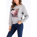 Hot Fashion Figure Print Round Neck Long Sleeves Light Gray Pullover Sweatshirt
