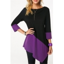 Women's Color Block Round Neck 3/4 Sleeve Asymmetric Hem Tee
