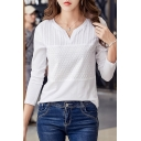 New Trendy Solid V Neck Long Sleeve Embroidery T-Shirt