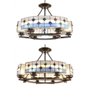 Mediterranean Style Blue Pendant Light Round 6/8 Lights Stained Glass Chandelier for Hotel