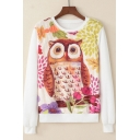 New Trendy Night Owl Printed Round Neck Long Sleeve Coral Fleece White Sweatshirt