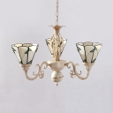 3 Lights Cone Pendant Lamp Tiffany Style Rustic Glass Chandelier in Beige for Bedroom