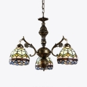 Foyer Dome Shade Chandelier Stained Glass 3 Lights Tiffany Style Nautical Pendant Light