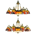 Living Room Dragonfly Hanging Lamp Stained Glass 9/11 Lights Tiffany Style Rustic Chandelier