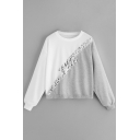 Gray and White Color Block Sequined Round Neck Long Sleeve Loose Sweatshirt