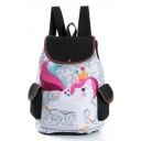 Popular Unicorn Printed Double Pocket Side White School Backpack 28*11*39 CM