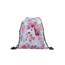 Hot Fashion Pink Unicorn Floral Printed Storage Bag Drawstring Backpack 33*39 CM