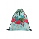 Hot Fashion Flamingo Plant Printed Green Storage Bag Drawstring Backpack 30*39 CM