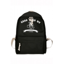 Stylish Letter Figure Printed Large Capacity Canvas Zipper School Backpack 27*13*40 CM