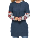 New Stylish Women's Floral Patched Drawstring Hood Long Sleeve Longline Hoodie