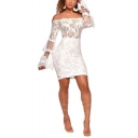Womens Simple Plain Sexy Off the Shoulder Bell Long Sleeve Mini Bodycon Nightclub Dress