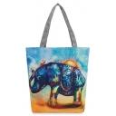 Designer National Style Elephant Printed Blue Canvas Shoulder Bag 27*8*37 CM