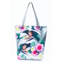 Fashion Creative Floral Leaves Printed White School Shoulder Bag 27*11*38 CM