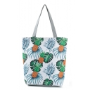 Popular Pineapple Leaves Printed White Shoulder Shopper Bag 27*11*38 CM