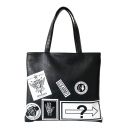 Chic Graphic Printed PU Leather Shopping Tote 41*2*36 CM