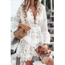 Sexy White Plain V Neck Long Sleeve Hollow Out Lace Mini A-Line Dress