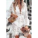 Sexy White Plain V Neck Long Sleeve Hollow Out Lace Mini A-Line Dress