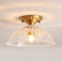 Traditional Barn Shade Flush Mount Light 1 Light Clear Glass Ceiling Light in Brass for Foyer