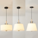Traditional Drum Shade Pendant Lamp 4 Lights Fabric Suspension Light in White for Dining Room