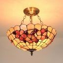 Tiffany Style Dome Ceiling Light with Flower Glass Chandelier Light for Bedroom Restaurant