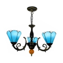 3 Lights Conical Suspension Light Tiffany Style Glass Metal Chandelier in Blue for Study Room