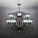 Trapezoid Shade Pendant Light Tiffany Style Antique Stained Glass Chandelier with Crystal for Villa