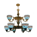 Tiffany Style Nautical Pendant Light Bowl Shade 9 Lights Stained Glass Chandelier for Villa