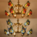 Blue/Red Butterfly Hanging Lighting Tiffany Style Rustic Stained Glass Chandelier for Bedroom