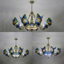 Dome Shade Ceiling Light with Butterfly 9 Lights Tiffany Style Rustic Stained Glass Chandelier for Villa