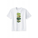 Unisex Avocado Printed White Round Neck Short Sleeve Tee